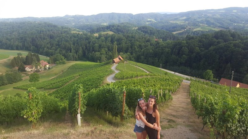 Špela and I on a trip to a beautiful vineyard in Slovenia! We were feeling quite romantic.