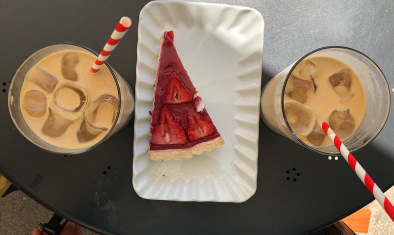Cheesecake and iced coffee at Barberella