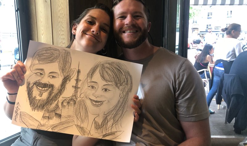 "Tessa & Joe got an ""engagement"" caricature (as everyone does right?)"
