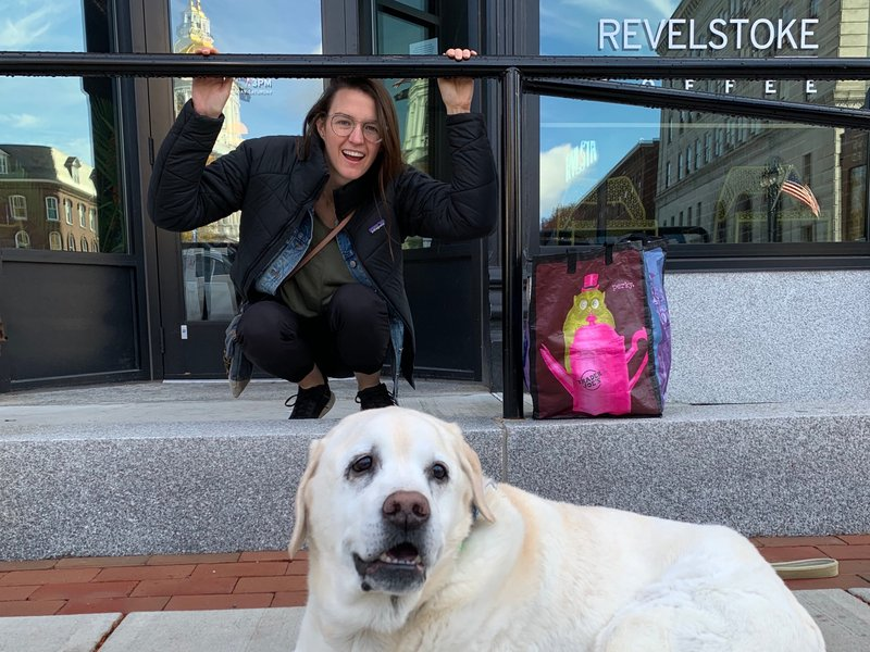 Sheila & Mango outside Revelstoke in Concord, NH - one of our new favorite places!