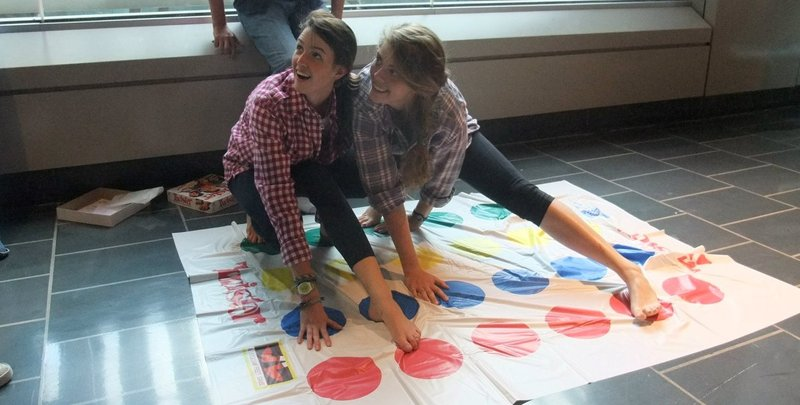 Rachel & I playing twister at an airport in Europe. Part of our high school Spanish trip where we decided to also bring and play twister in various famous areas