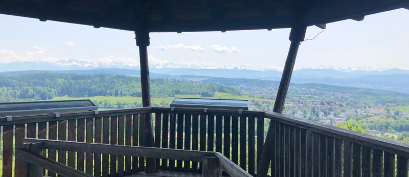 View of the Alps from the top of the Lorenchopf observation post
