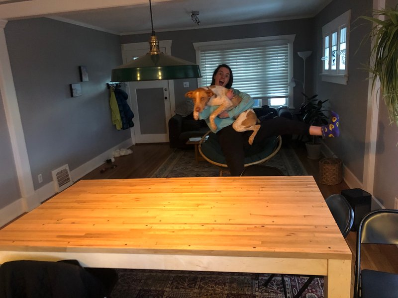 We made a farmhouse table with the help of Sheila's cousin Evan!