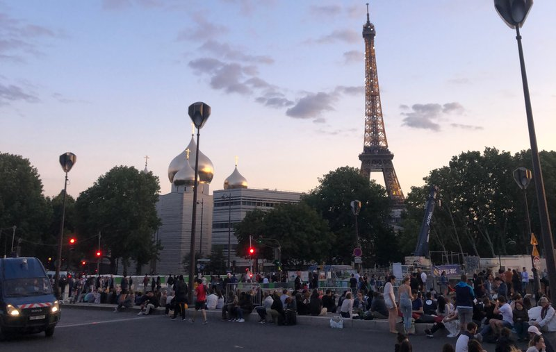 The Bastille Day fireworks show is no small thing — people must post up for hours before the show begins, simply setting up a picnic and enjoying the evening,
