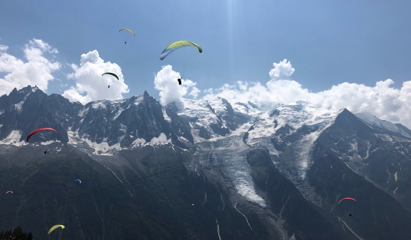 Paragliding, very popular in Chamonix. Fun to watch for us!